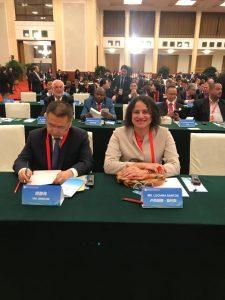 Apenas quatro pessoas falaram. Fui a primeira a falar e a cumprimentar o Sr Wu Jingping (Membro do Comitê Permanente de Shangai do PCCh). Falei em nome do Brasil!